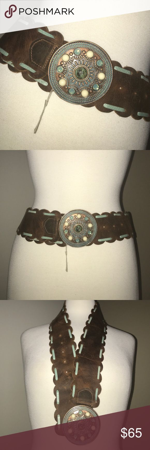Boston Proper Cognac Turq Stone Medallion Belt Beautiful!! NEVER WORN/ Brand New/ Turqoise stone mix with pearl accents/ Embroidered  with turquoise snakeskin in belt loop Boston Proper Accessories Belts