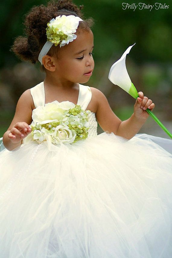 Ivory and Green Flower Girl Dress by FrillyFairyTales on Etsy