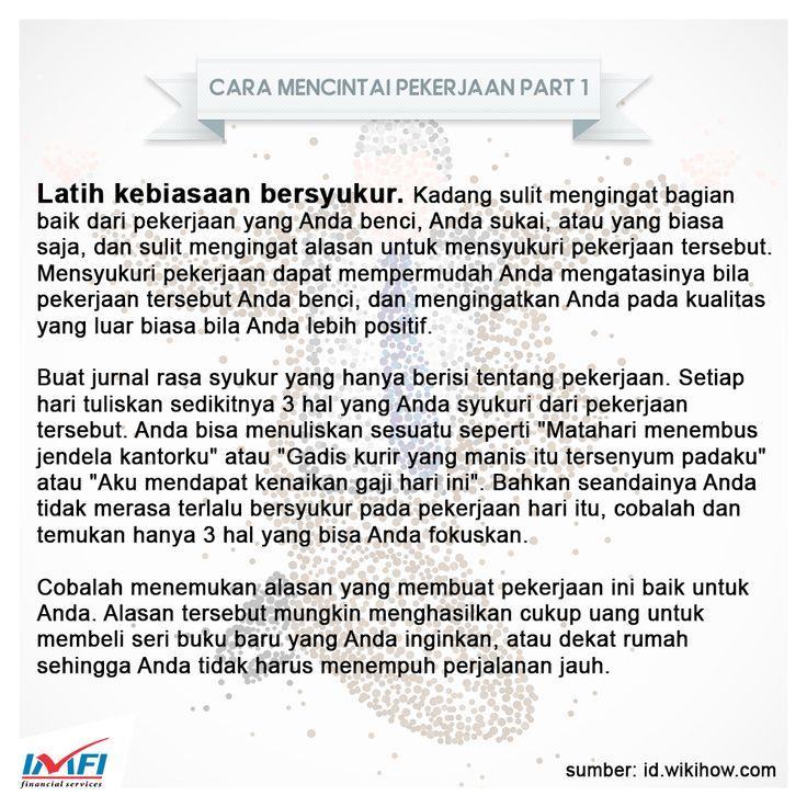 Cara Mencintai Pekerjaan Part 1 #pekerjaan #jobs #lovejob #work #working #indomobil #indomobilfinance #indonesia