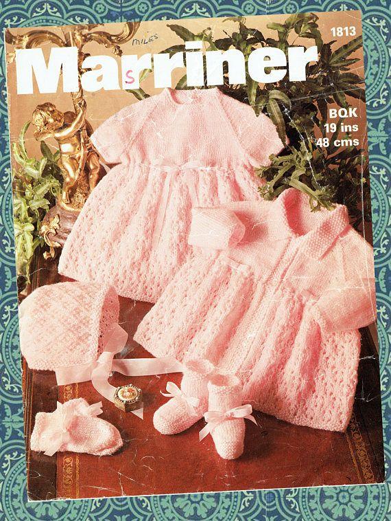 Original Vintage Baby Girl Knitting Pattern PINK Pram Set