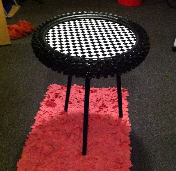 Dirtbike tire table by BMPRODUCTS on Etsy (cool for man-cave)
