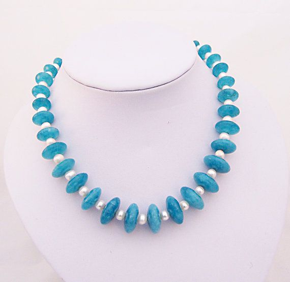 Blue Crystal and Freshwater Pearls Necklace by evecollection