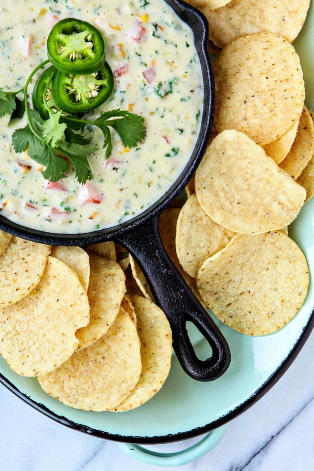 Queso Blanco is perfect for football season. It goes great with veggies, chips, and even french bread!