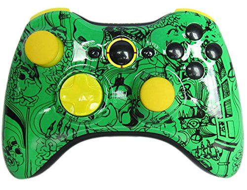 Limited Edition Green Skulls Yellow Rapid Fire Controller for Xbox 360 and Tons More Features and Compatible With All Games