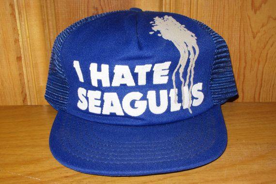 I HATE SEAGULLS Original Vintage 80s Blue Mesh Trucker Hat at HatsForward