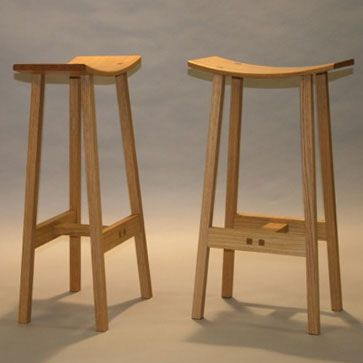 Oak Stools with laminated curved seats and through tenons . Jon Getz