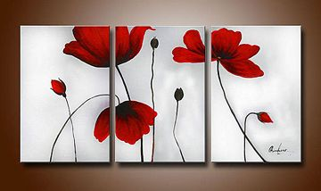 Flowers Hand-painted 3-piece Modern Oil Painting Stretched Frame