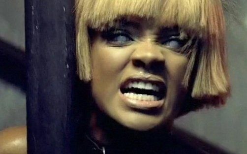 RIHANNA  Rihanna acting demon-possessed in the Disturbia video. Be careful what you open up to!