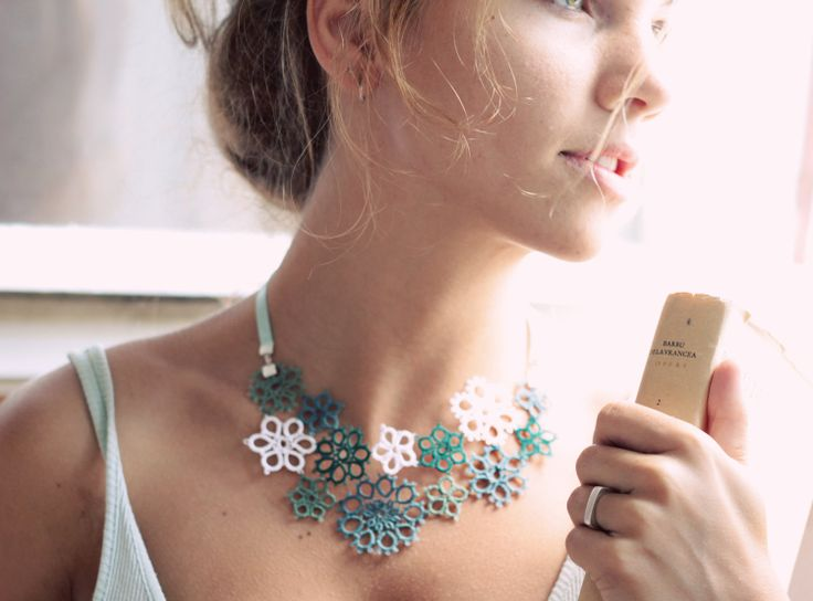 perfect gift for her - handmade tatted floral necklace - asymmetrical lace decoration in mint tones. €30.00, via Etsy.