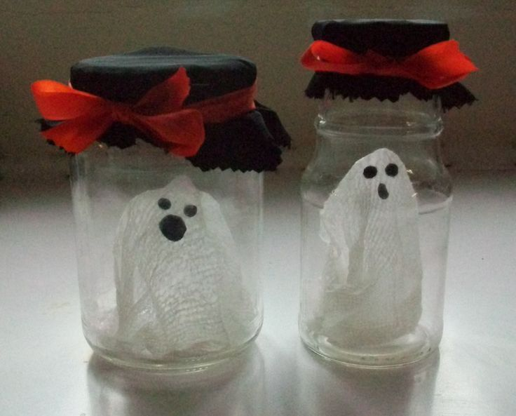 Ghost jars! These look like so much fun to make!: Holiday, In A Jar, Ghosts, Halloween Crafts, Craft Ideas, Jars, Halloween Ideas, Kid