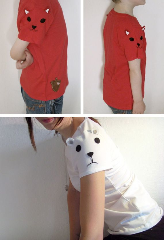 Sleeve animal tees-- hmmm, i could do that....: Fun Idea, Kids Clothes, Sleeve Animals, Sleeve Fun, Animal Tees The, Sewing Ideas, Baby, Animal Sleeve