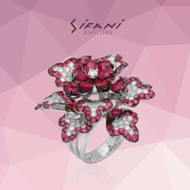 Intricate & unique floral design #ring #diamond #ruby