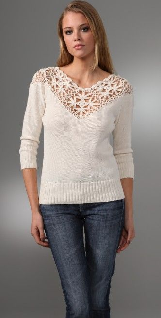 Beyond Vintage Crocheted Yoke Sweater | SHOPBOP