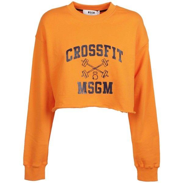 Msgm: Orange Cropped Sweatshirt (£120) ❤ liked on Polyvore featuring tops, hoodies, sweatshirts, arancio, msgm, orange crop top, cropped sweatshirt, cropped tops and msgm sweatshirt