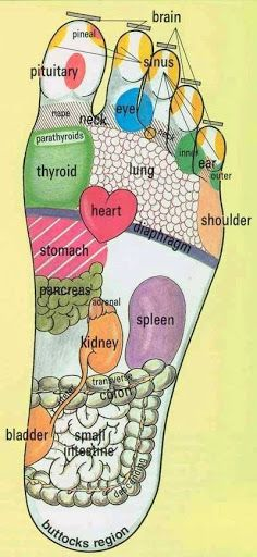Foot Reflexology !! ************ Massage the part of your foot that corresponds to the part of your body that hurts and it will slowly reduce and eventually get rid of pain. Helps promote blood circulation to that particular part of the body.