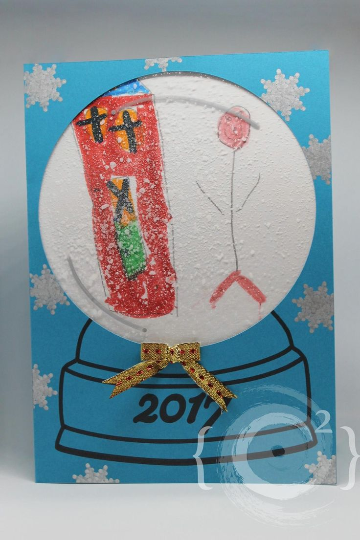 """""""Snow Globe"""" themed wish card by Catie Corbin and a 5 years old kid www.catiecorbin.com https://facebook.com/catiecorbin.graphiste/"""