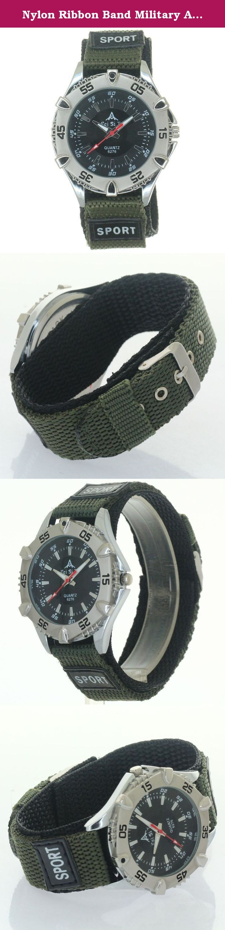 Nylon Ribbon Band Military Army Velcro Fastener Polished Buckle Sport Quartz Unisex Bezel Wristwatch. Double Layer Nylon Watch Strap Velcro Fastener Polished Buckle Functional uni-direction bezel crown Decorate Numeral Dial Japan Precision Movement Inside. Quartz Wristwatch. Short straps not fit strong big wrists. Men Women Boys Girls Kids Students all Fits.