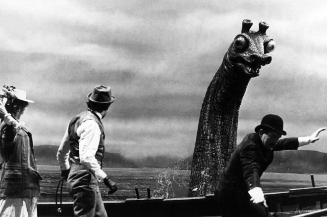 Nessie prop in The Private Life of Sherlock Holmes (1970)-- 30ft (9m) model of the Loch Ness Monster built in 1969 for a Sherlock Holmes movie has been found almost 50 years after it sank in the loch. The beast was created for the Billy Wilder-directed The Private Life of Sherlock Holmes, starring Sir Robert Stephens and Sir Christopher Lee.