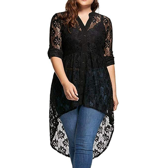 c4461c39108a Paymenow Women Sexy Long Sleeve Tops Blouse Lace Splice Perspective Button  Down High Low Hem Shirts Plus Size
