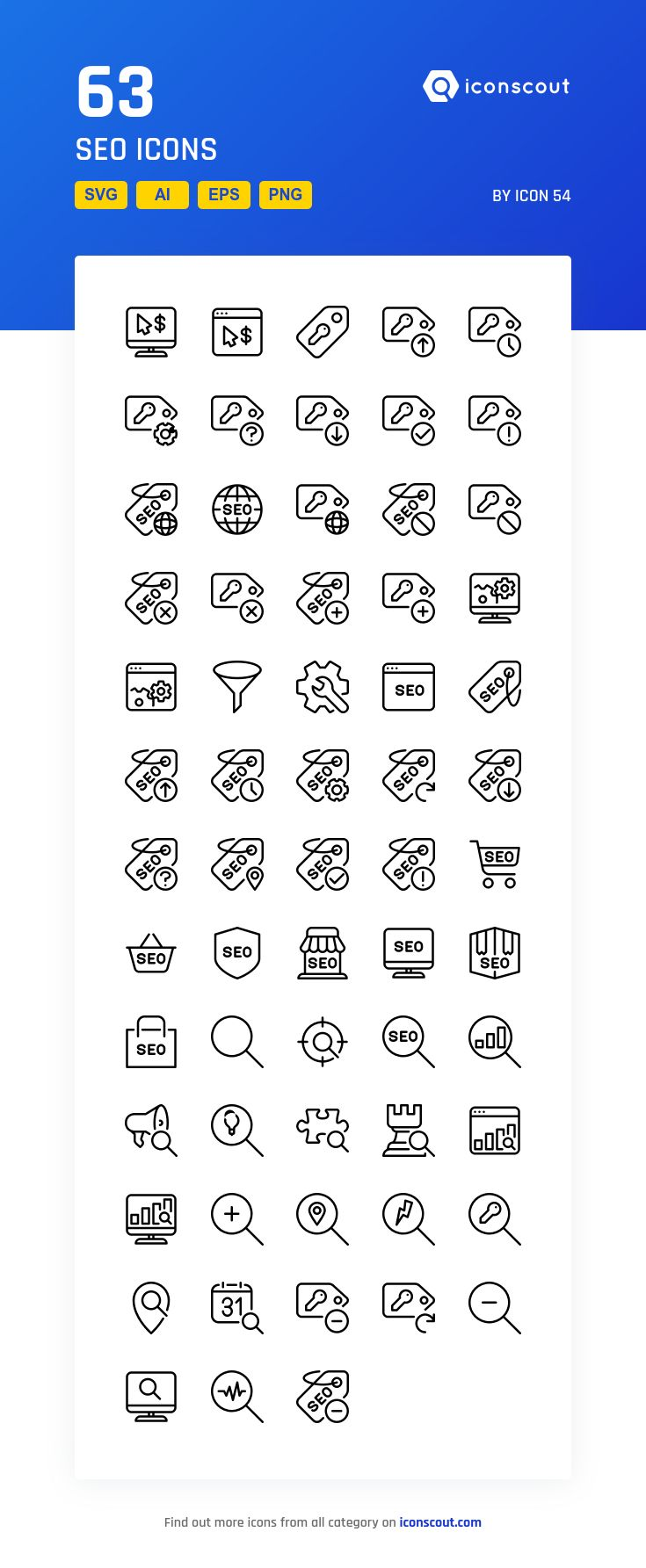 Seo  Icon Pack - 63 Line Icons