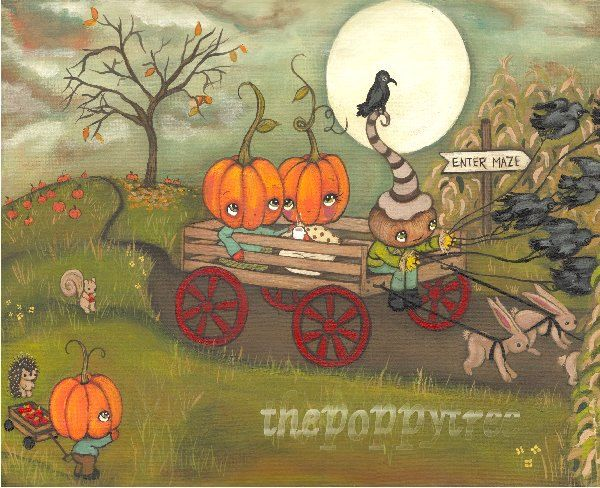 Pumpkin Print Fall Whimsical Hay Ride Harvest Moon Hot apple Cider Pumpkin Patch Corn Maze Raven Wall Art---Harvest Hay Ride by thepoppytree on Etsy