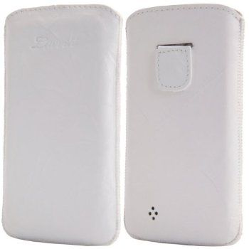 Image of LUVVITT Genuine Leather Pouch for Samsung Galaxy S4 - White