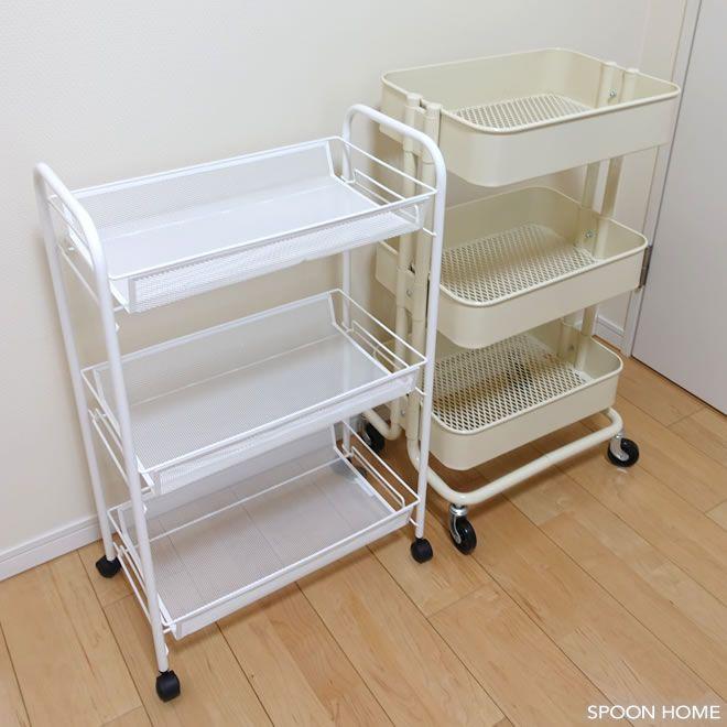 Ikeaのhornavanバスルームワゴンとロースコグワゴンを比較した画像 収納 アイデア 収納 キッチン デスク