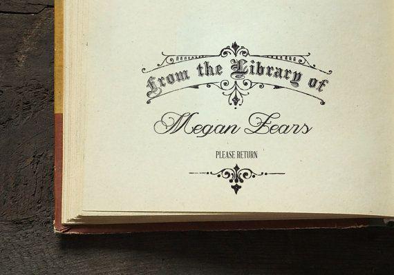 Dalla biblioteca di timbro, legno montato, timbro di nozze, regalo Housewarming, tipografia francese libro regalo amante - spedizione gratuita-