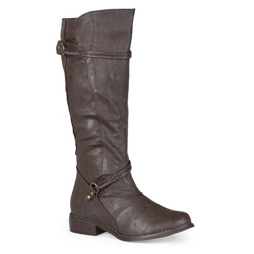 Women's Journee Collection Wide Calf Ankle Strap Buckle Knee-High Riding Boots : Target