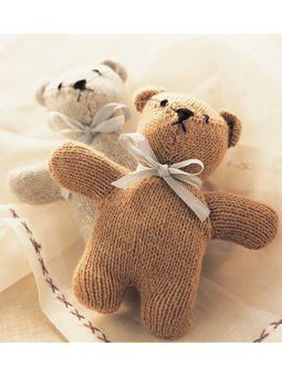 Cashmere Teddy Bear. Knit in four simple pieces.