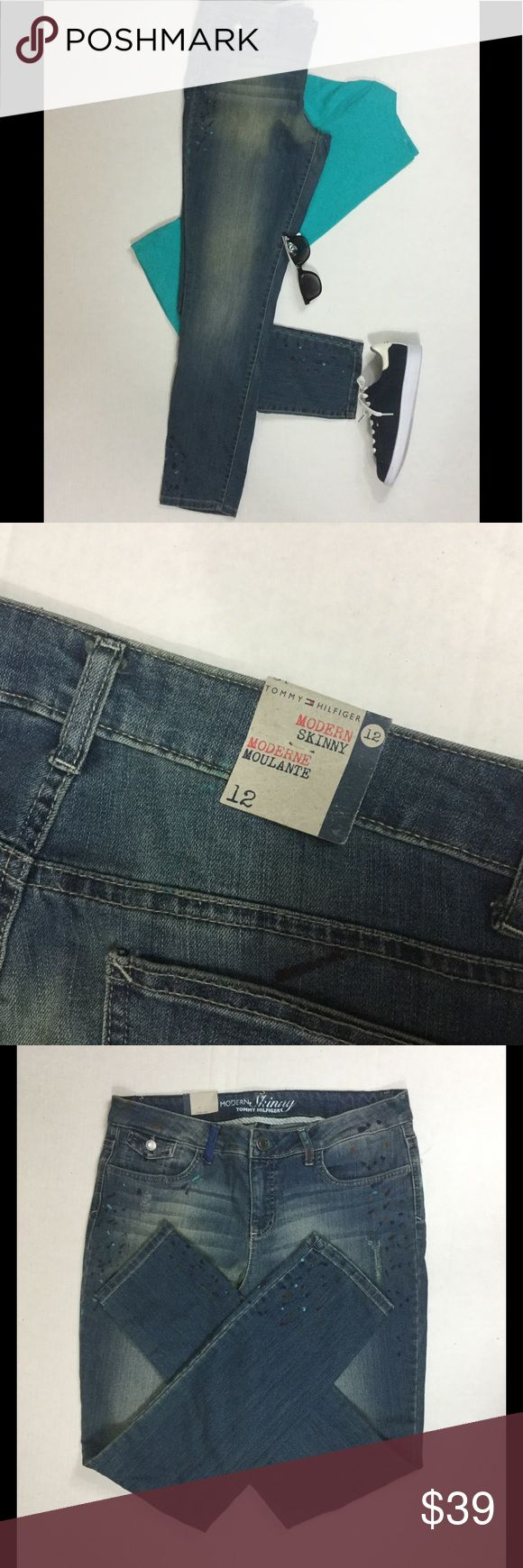 Modern Skinny Jeans by Tommy - Painted Vintage Modern Skinny Jeans by Tommy Hilfiger - Painted Vintage. Jeans are lightly splattered @ the waist, hip & leg area in gold, teal, blue & brown. Size: 12 Inseam: 30.5 Lots of stretch to these jeans. Tommy Hilfiger Jeans Skinny