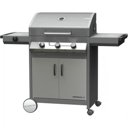 Cadac Meridian Patio BBQ Stainless Steel with Side Burner - Cadac International offer unparalleled versatility with their Meridian patio BBQ range for the ultimate cooking experience whether its grilling, baking or even slow cooking.