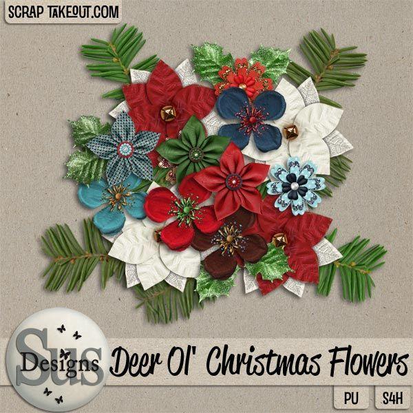 Deer Ol Christmas Flowers