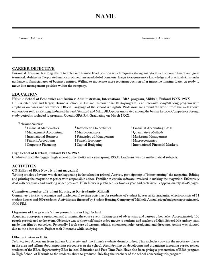 64 best Resume images on Pinterest High school students, Cover - finance student resume