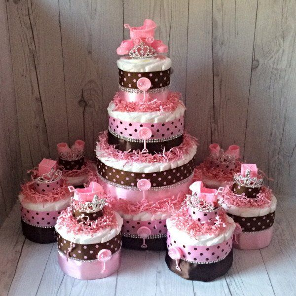 Pink and Brown Polka Dot Baby Shower Diaper Cake Centerpiece Set
