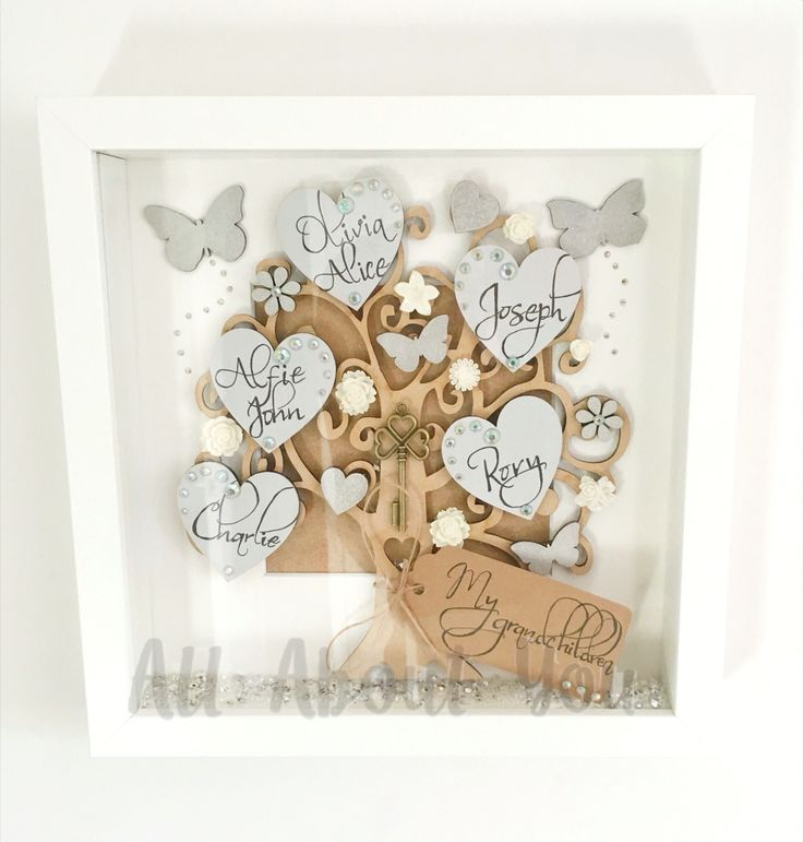 Family tree frame in grey and silver.