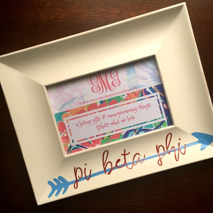 SORORITY PICTURE FRAME - 4x6 picture frame customized with your sorority name…
