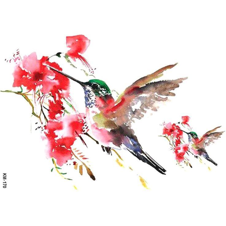 Belle feuille de tatouage temporaire de fleurs florales colibri aquarelle rose …   – Tattoo Ideas