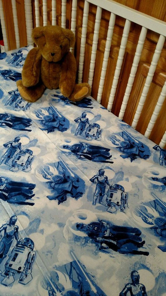 Star Wars . Blue Design . Baby Crib or Toddler Cotton Bed Sheets . sewn by me