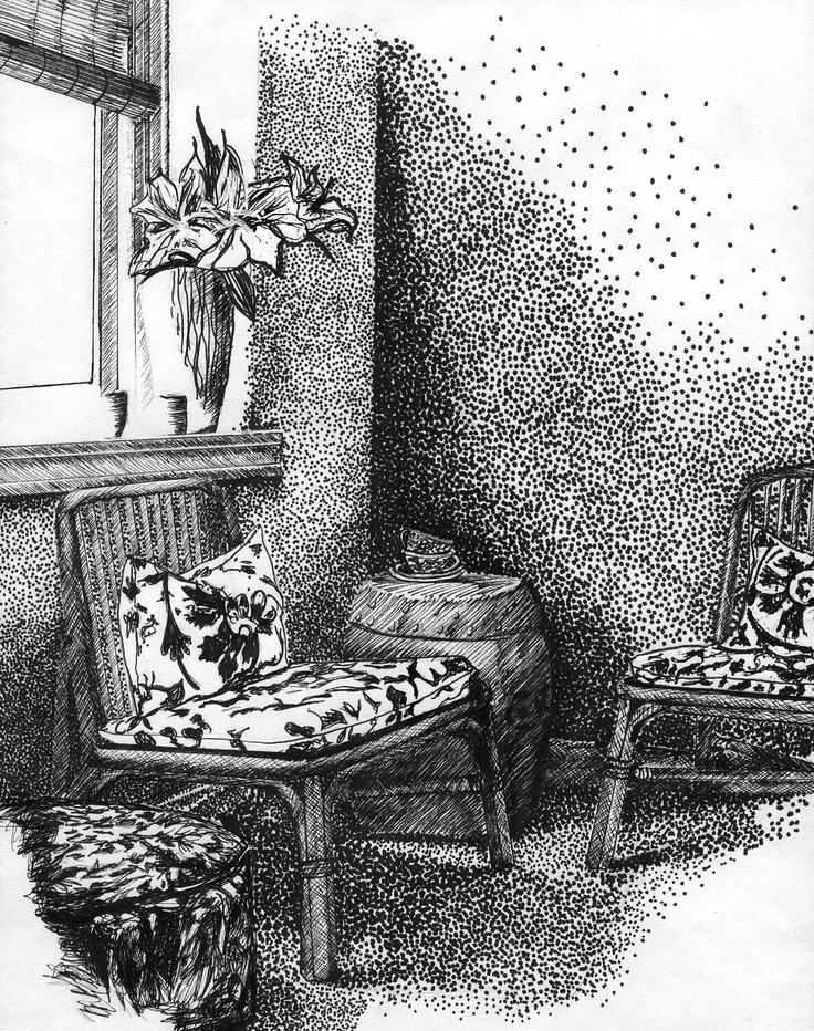 Hand Rendered Interior Felt Tip Pen By Belinda Williams