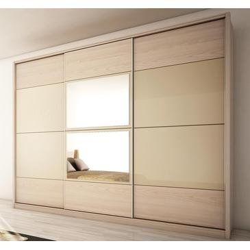 Manhattan Comfort NoHo 3-Door Wardrobe, Oak Vanilla/Nude