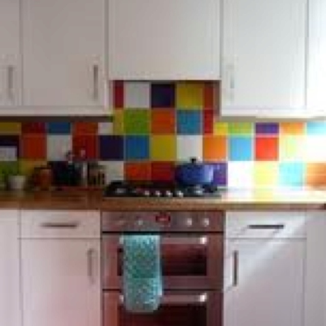 Multi Coloured Splashback Tile In 2018 Kitchen Tiles Colors