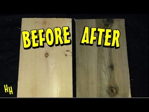 http://www.hollywoodhaunter.com/ How to make new wood look old and aged with the vinegar & steel wool mixture. How to weather wood. Here is a simple techniqu...