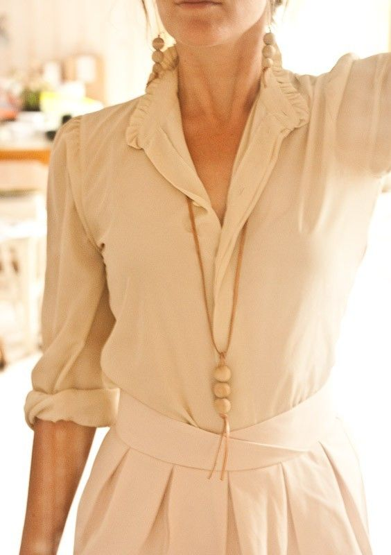 Love cream, the tailored shirt and skirt and the style of the whole outfit