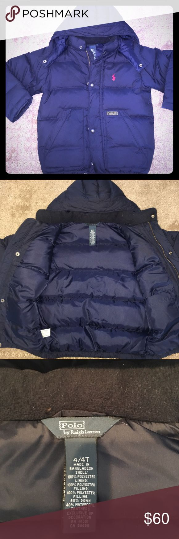 Ralph Lauren polo jacket Navy Blue Ralph Lauren quilted jacket. Hood with full front zipper. Long sleeve great condition worn a few times. Size 4T Polo by Ralph Lauren Jackets & Coats Puffers
