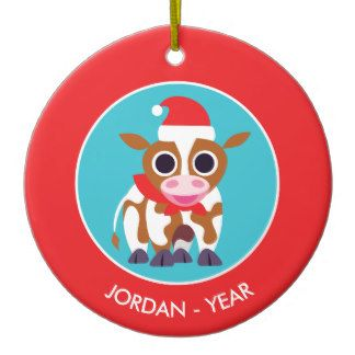 Christmas Reba the Cow Double-Sided Ceramic Round Christmas Ornament