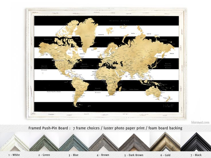 Elite framed push pin board: Gold world map with cities in black and white striped background #FramedPushPinBoard #AnniversaryGiftIdea #FramedCorkboard #HandmadeInUsa #BohoDecor #BohoChic #HandmadeFramedPushPinBoard #CorkBoardBacking #AnniversaryGift #boho
