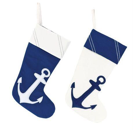 Nautical Anchor Stockings, Set of 2
