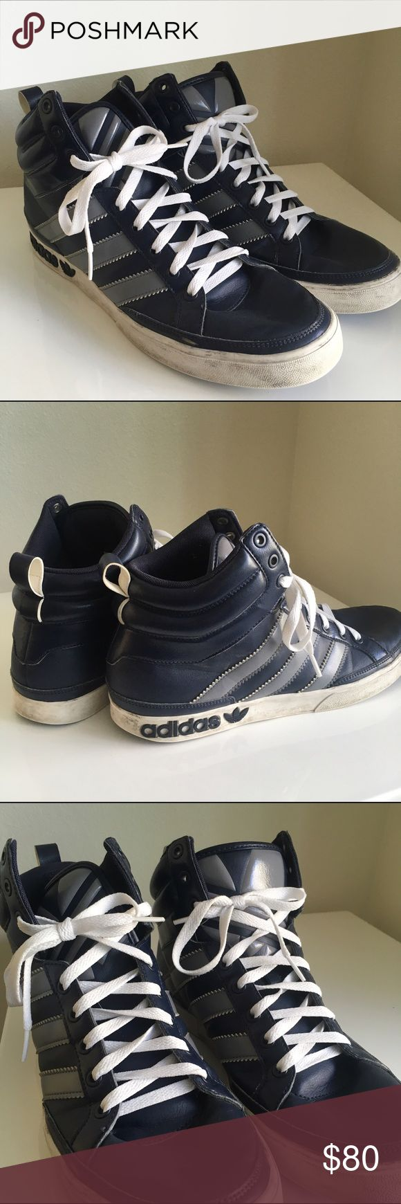 BOGO Men's Adidas high tops Navy • fresh laces • buy these and pick out another pair of men's shoes in my closet for free. Let me know and will update the listing for purchase! Adidas Shoes Sneakers