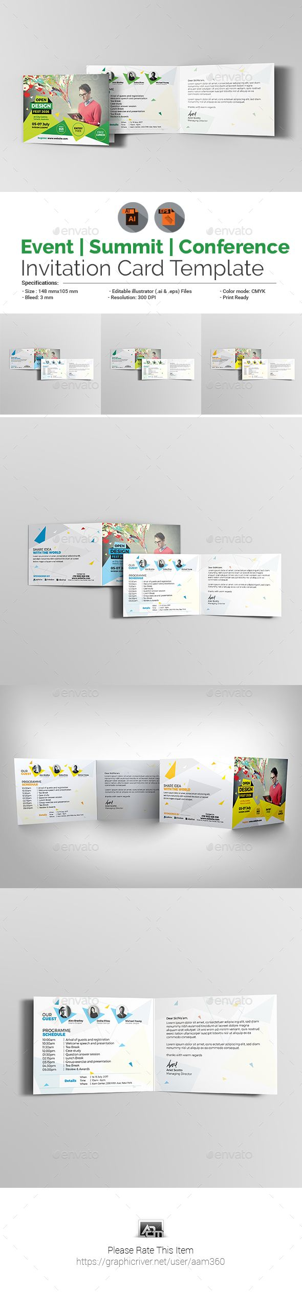 Event/Summit/Conference Invitation Card Template - #Cards & #Invites Print Templates